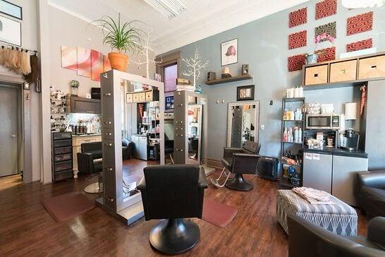 A pretty hair salon interior.