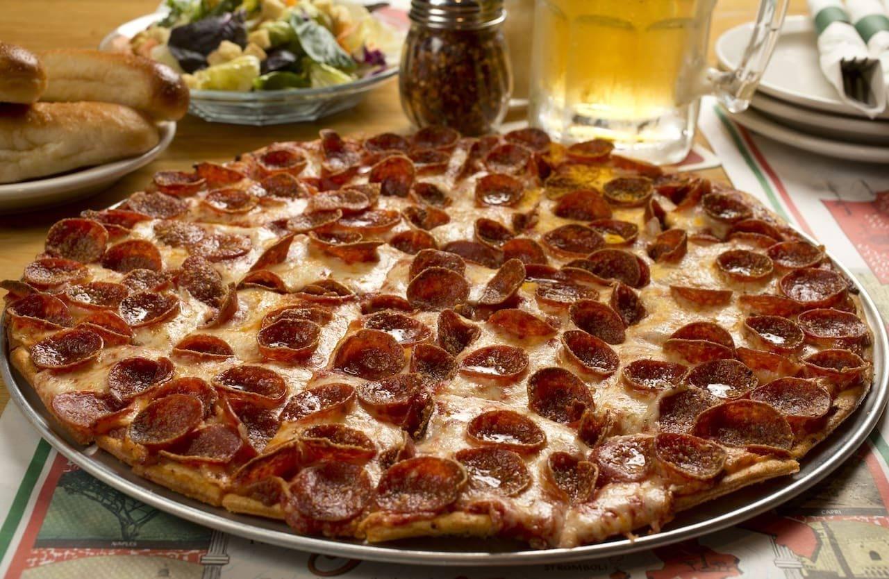 large pepperoni pizza from Villa Nova Ristorante