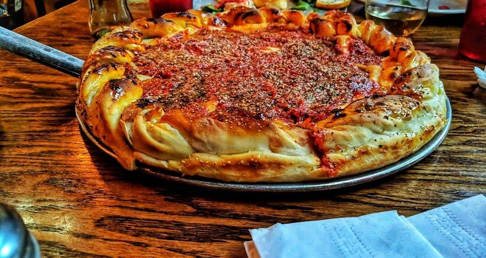 stuffed crust pizza from Yellow Brick Pizza