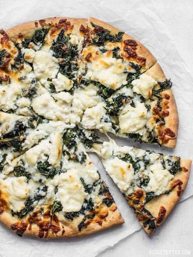 Pizza with spinach from Tamo's Pizzeria