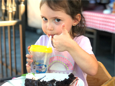 photo of kid eating