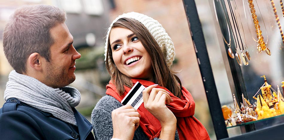 Couple with payment card