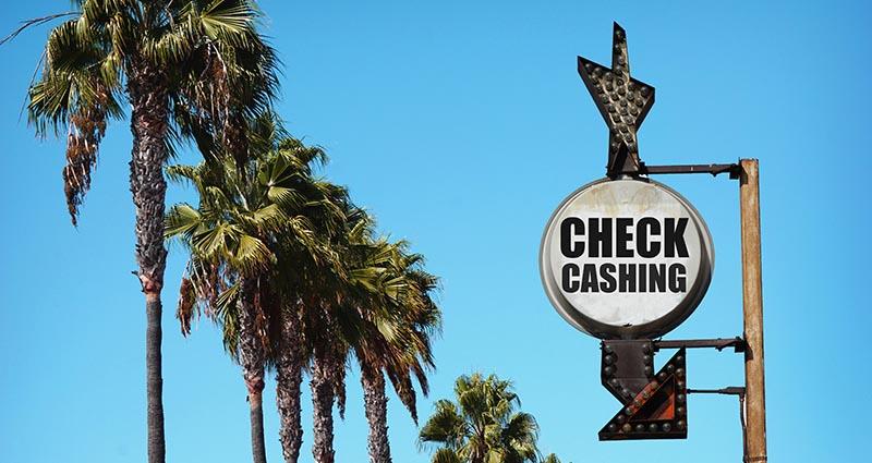 Check cashing roadsign