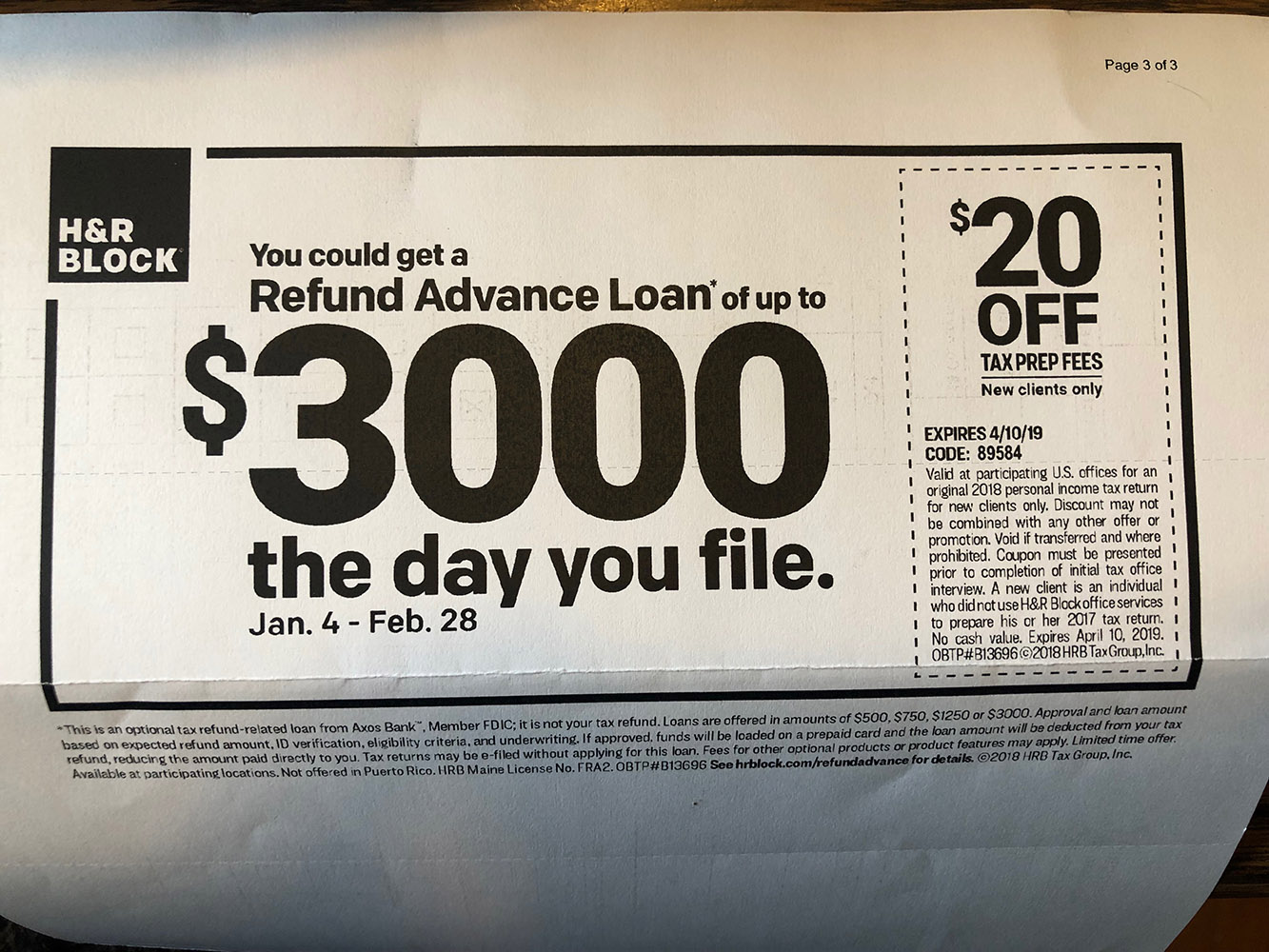 Tax Loan RAL Coupon Lowes