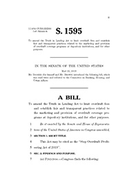Cover page of the Stop Overdraft Profireering Act of 2019