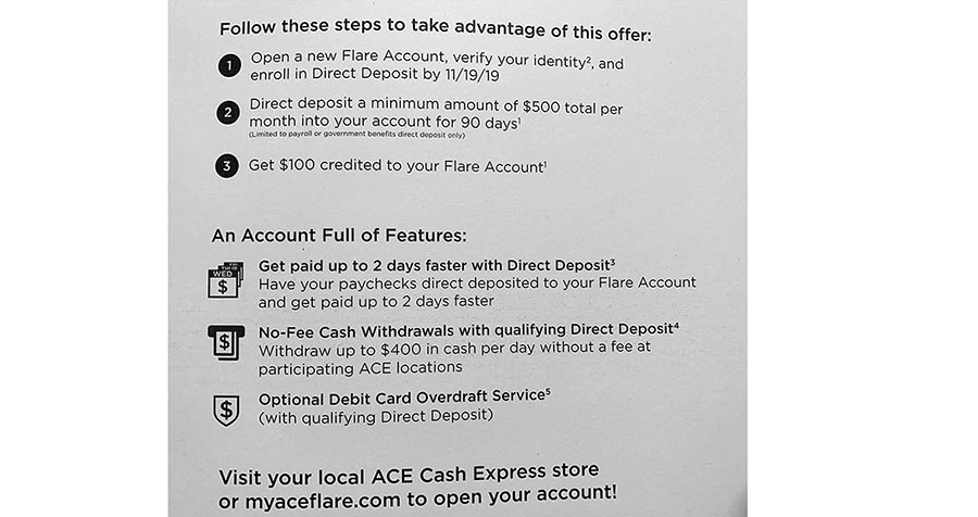 NetSpend Ace Flare Account Overdraft Terms