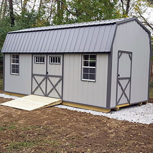 Light gray garden shed