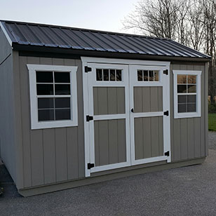 Taupe garden shed