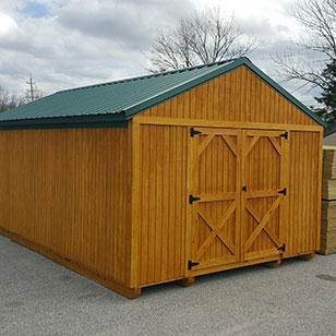 Wood utility shed