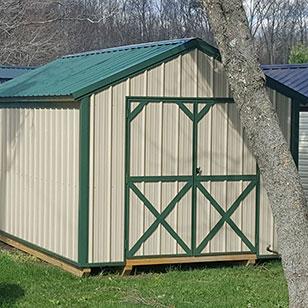 Tan utility shed