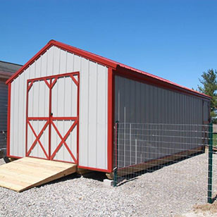 Gray utility shed