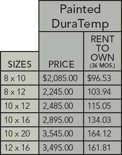DuraTemp mini barn pricing