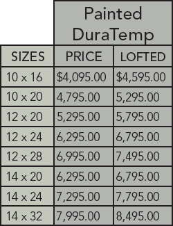 DuraTemp cabin pricing