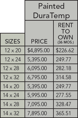DuraTemp garage pricing