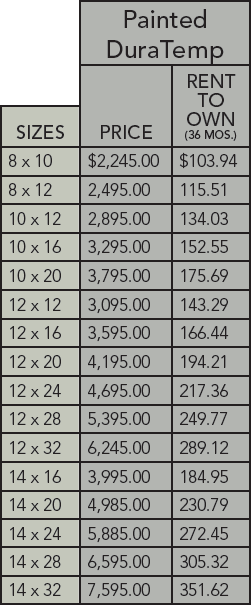 DuraTemp garden shed pricing