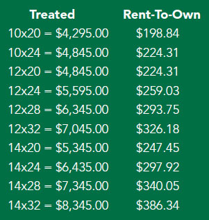 Wood run-in shed pricing
