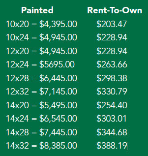 DuraTemp run-in shed pricing