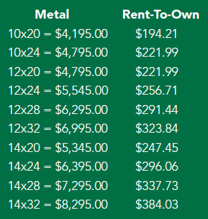 Metal run-in shed pricing