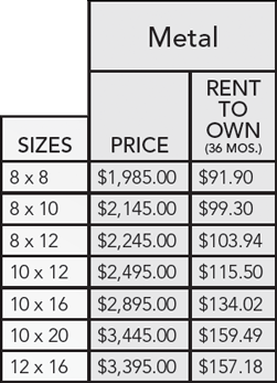 Metal mini barn pricing