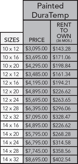 DuraTemp barn pricing