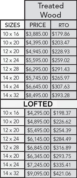 Wood cabin pricing