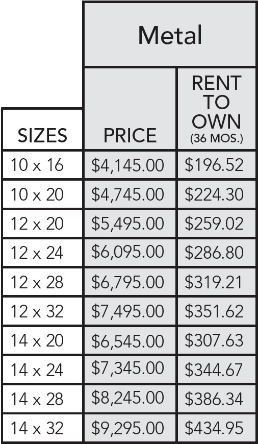 Metal run-in shed pricing