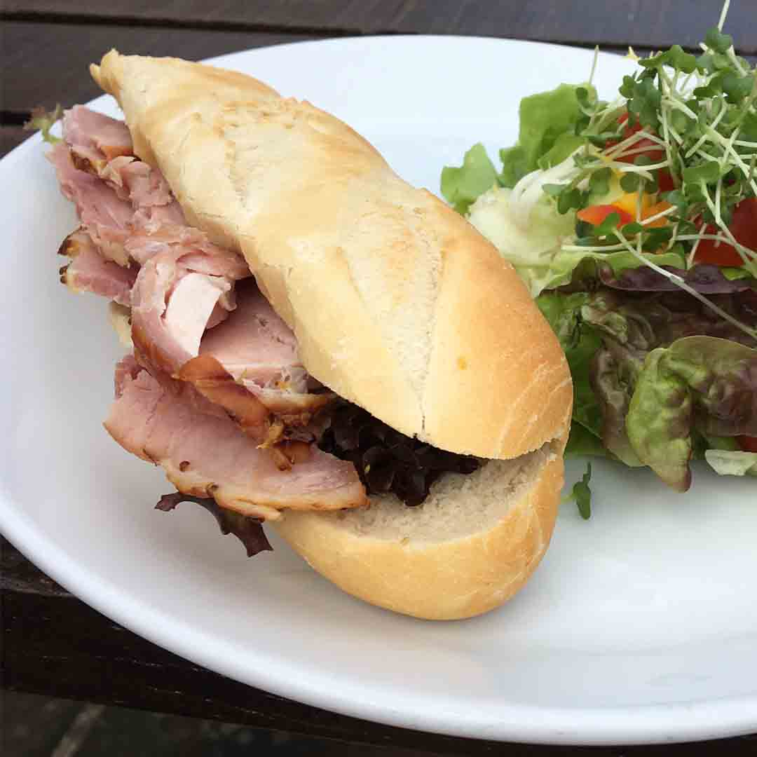 Home Baked Wiltshire Ham Baguette and Salad