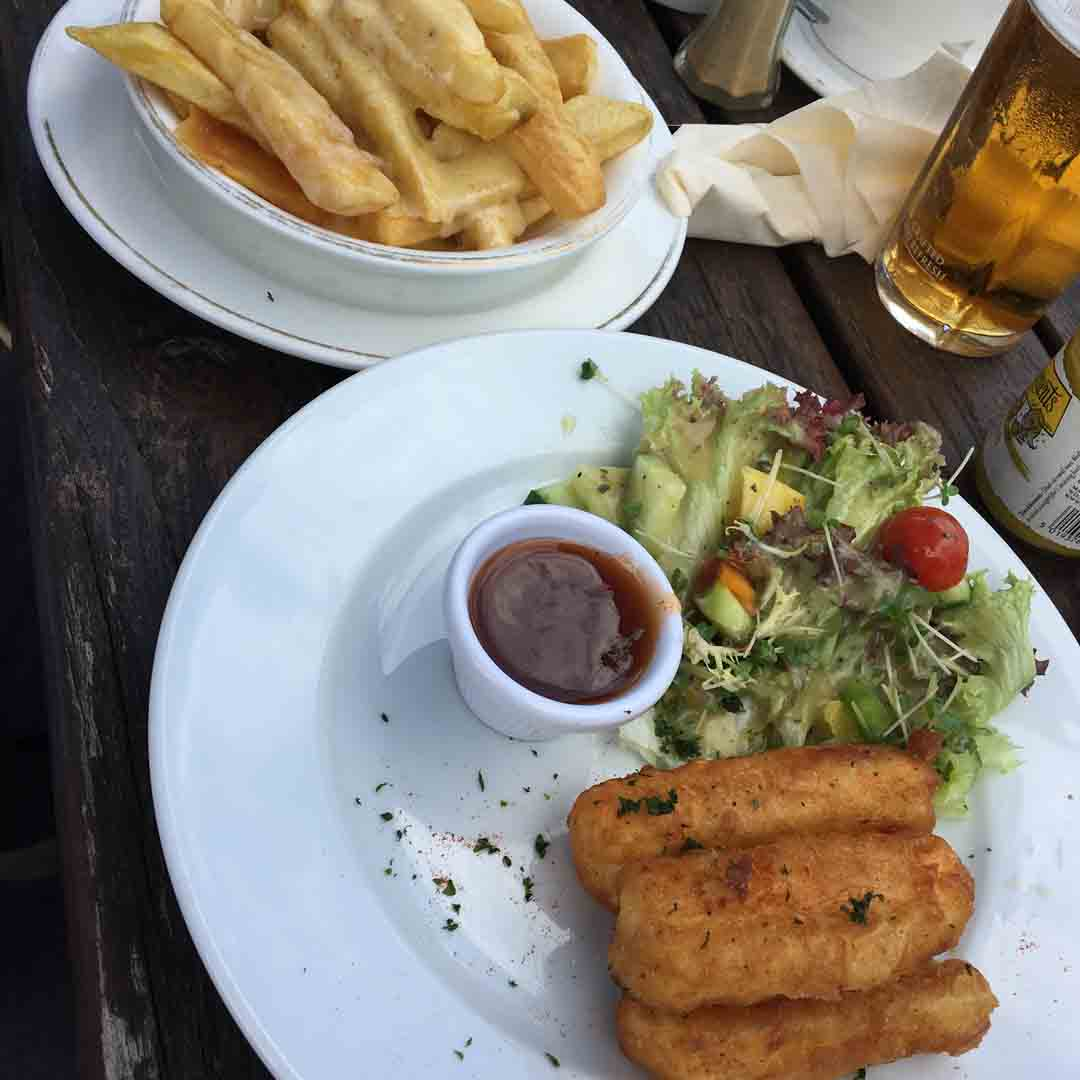 Battered Halloumi with Cheesy Chips
