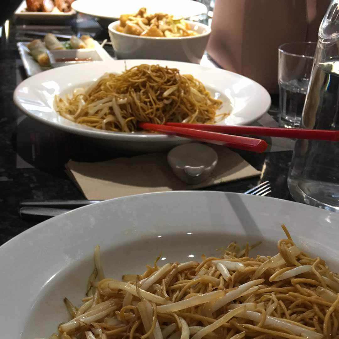 Oodles of Noodles on the bar.