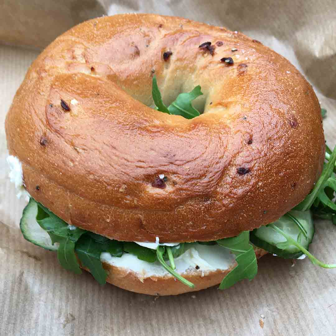 Cream Cheese & Cucumber on Sundried Tomato & Olive Bagel