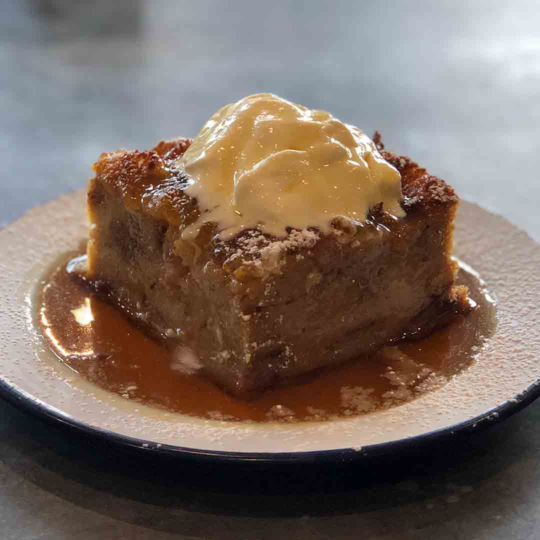 Lynwood and Co Warm Bread Pudding with Maple Syrup and Creme Fraiche