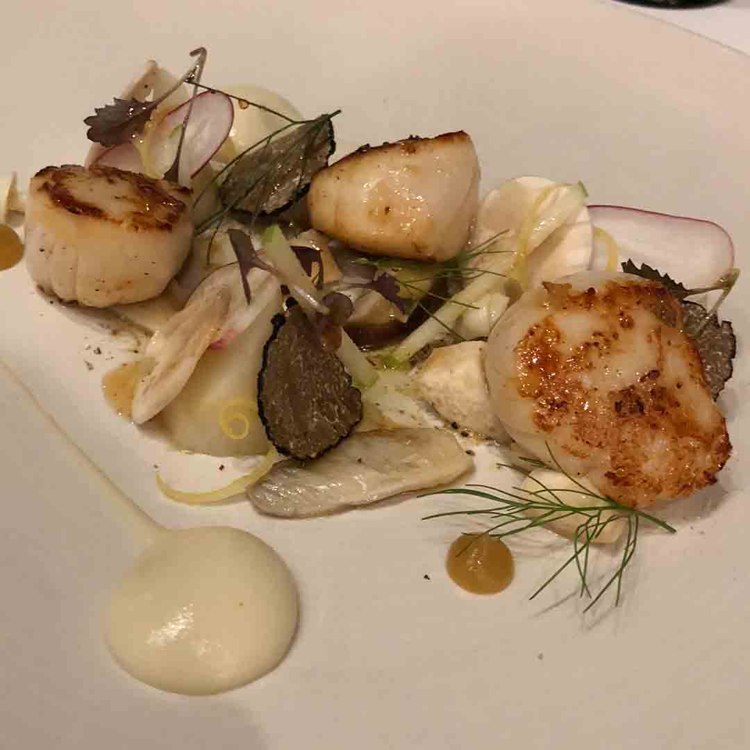 Royal Crescent tasting menu coruse: Scallops with artichoke, smoked eel and apple.