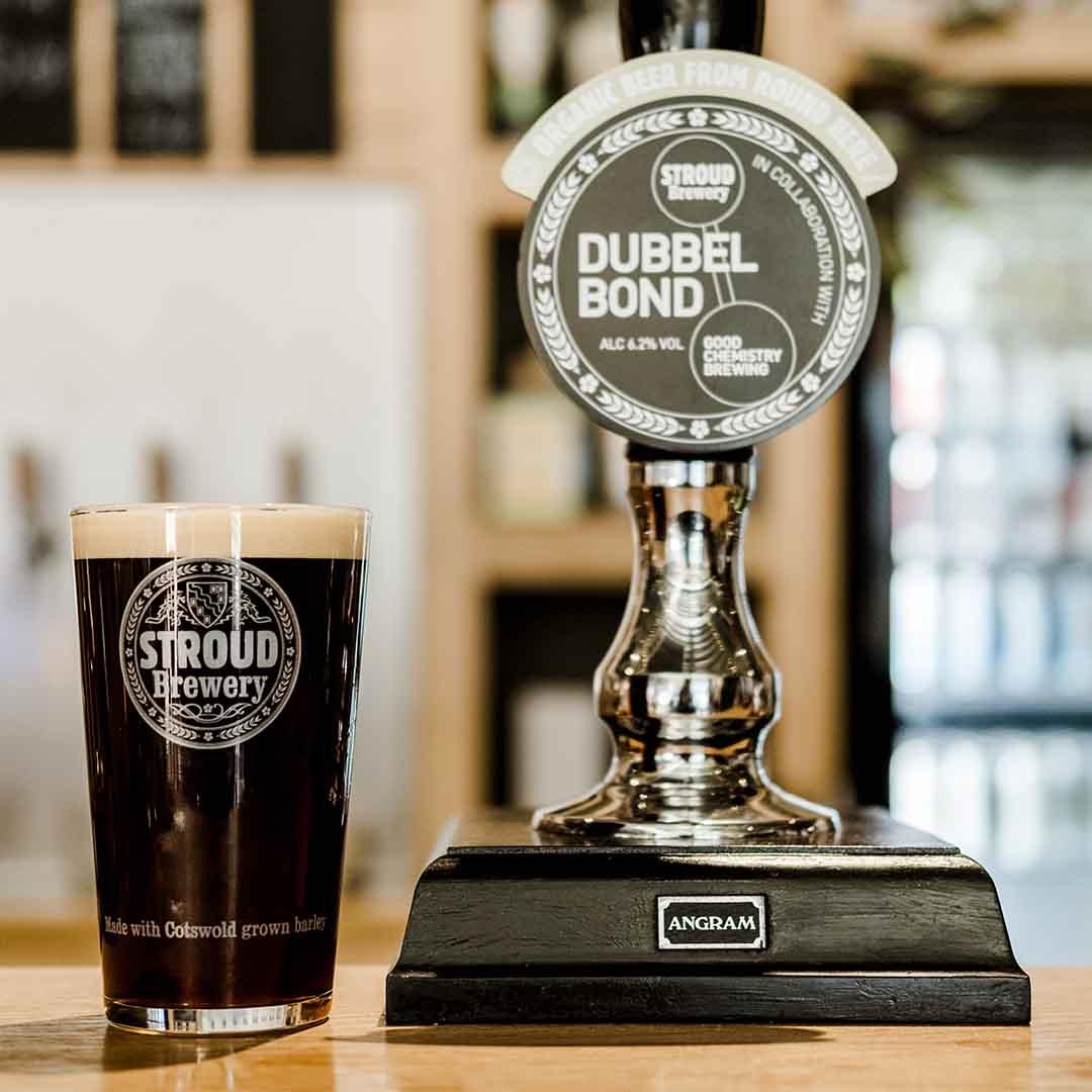 Dubbel Bond Beer in Stroud Brewery Bar
