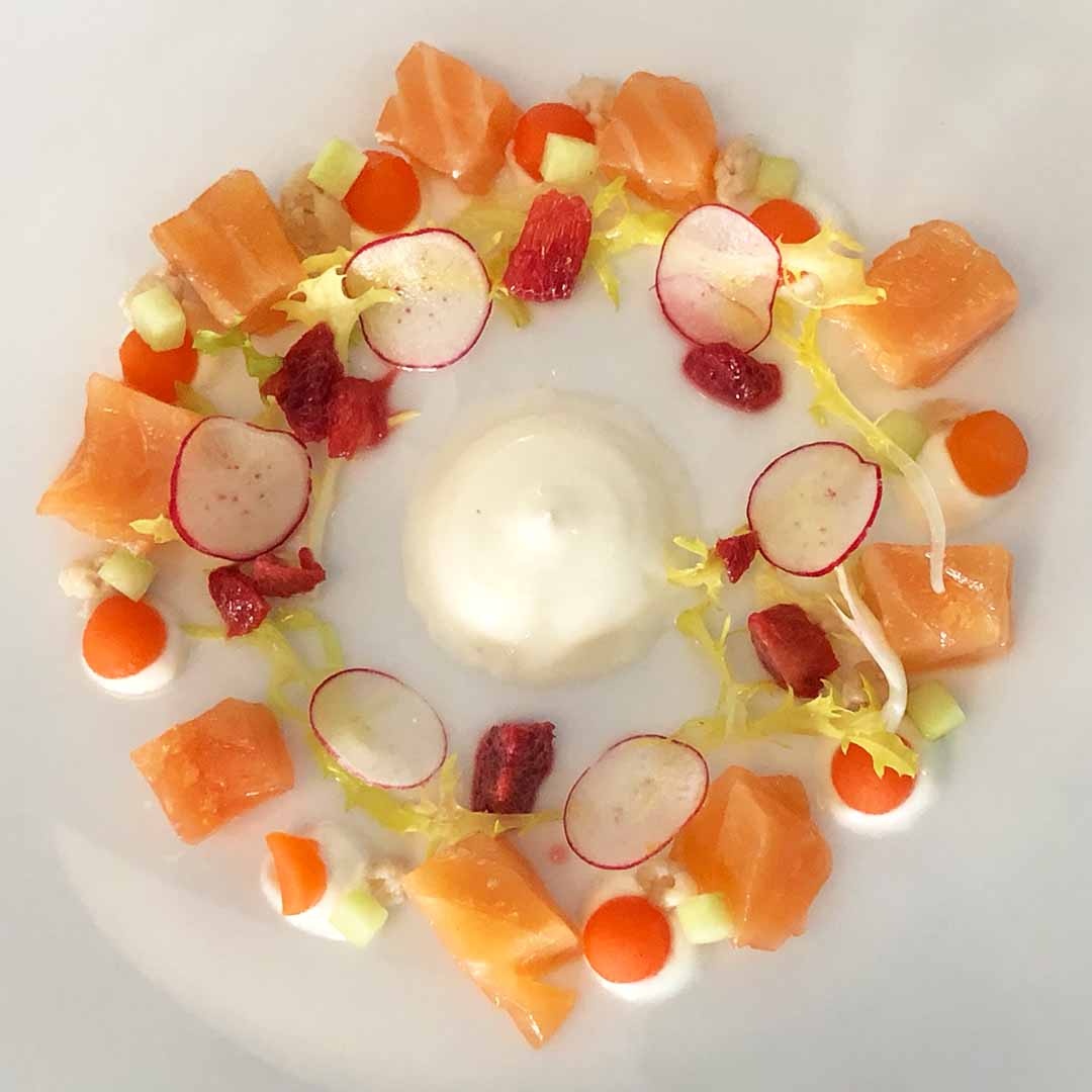Whisky Cured Salmon with Pickled Vegetables and Natural Yoghurt