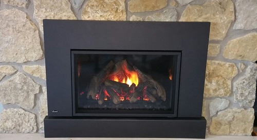 E33 Fireplace Insert with Stone