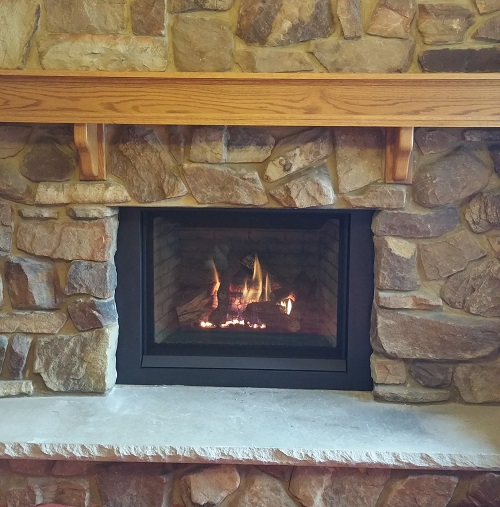 B36 Fireplace Insert with Wood Mantel
