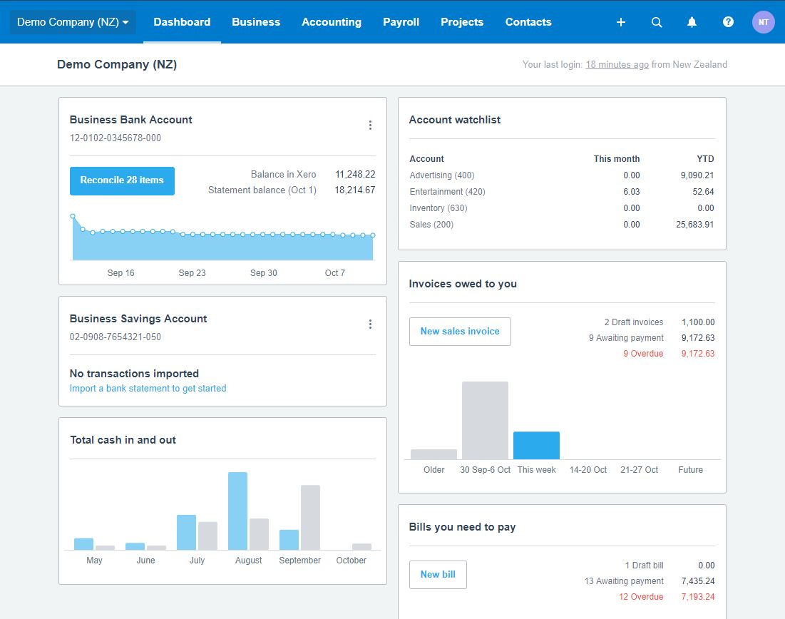 Xero's Dashboard & Navigation Illumin8