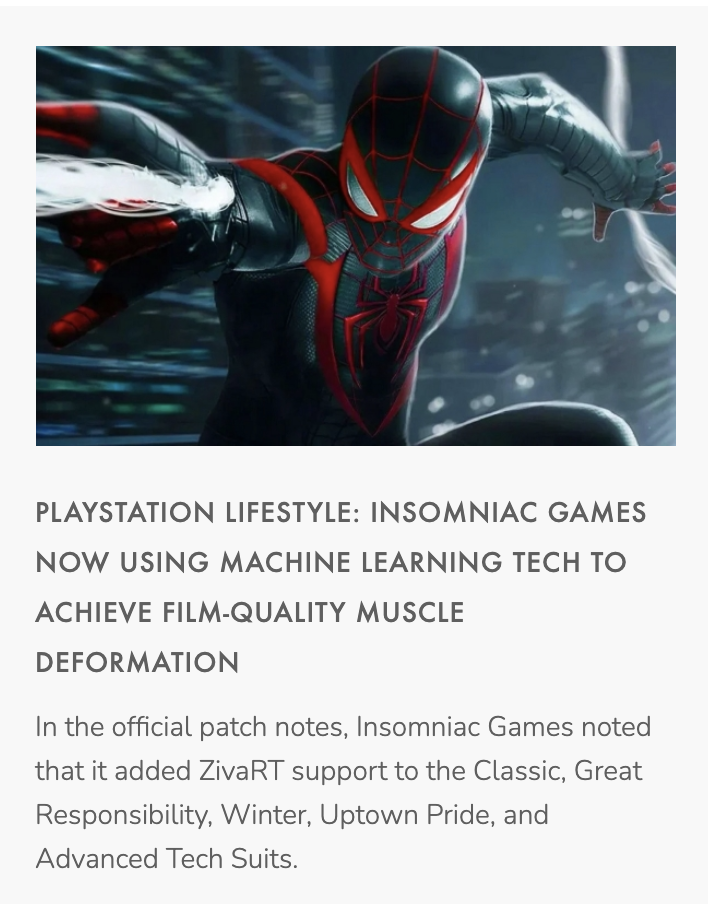 Article of Ziva technology used in Spiderman Miles morales