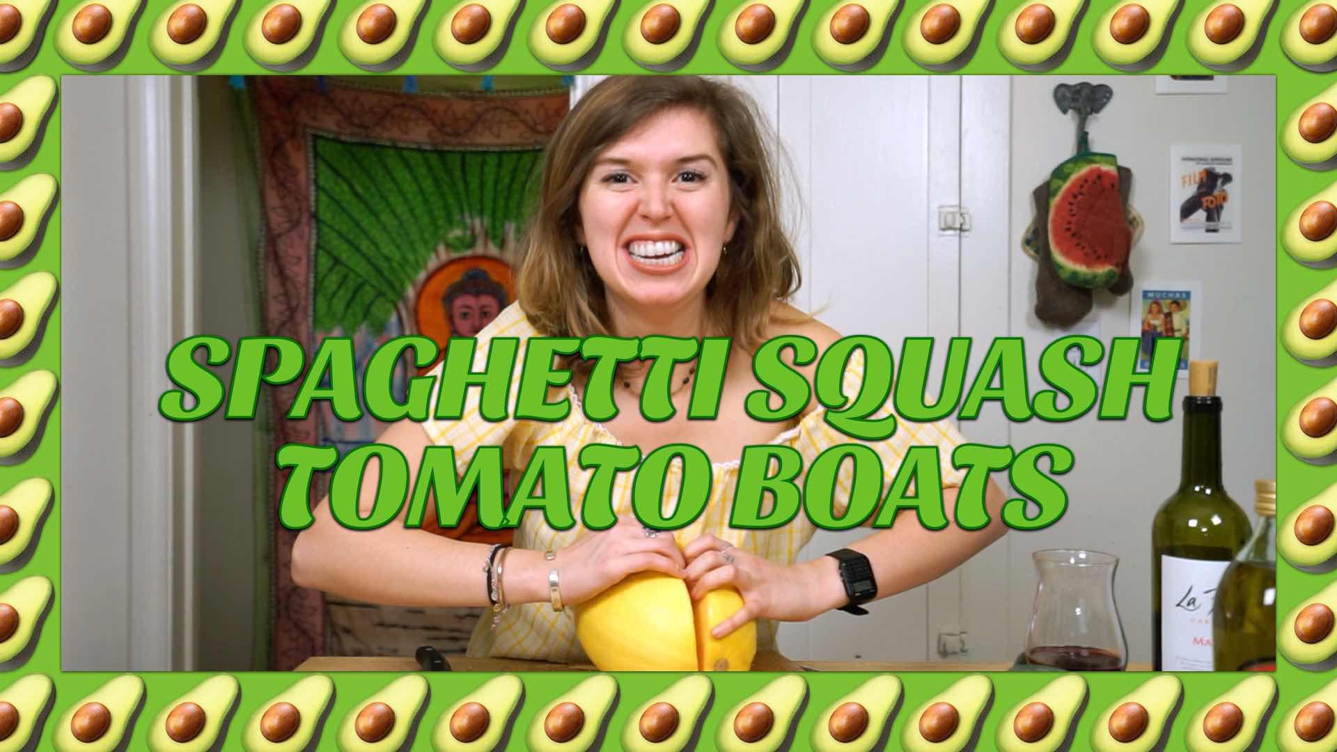 How to Make Vegan Spaghetti Squash & Tomato Sauce Boats with Avocadamama