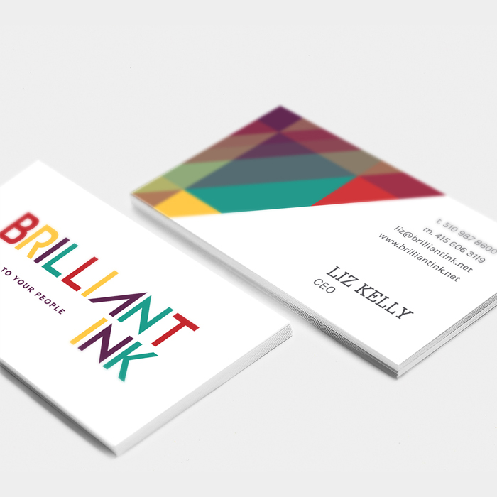 Business card design for Brilliant Ink, by Flipside Creative.