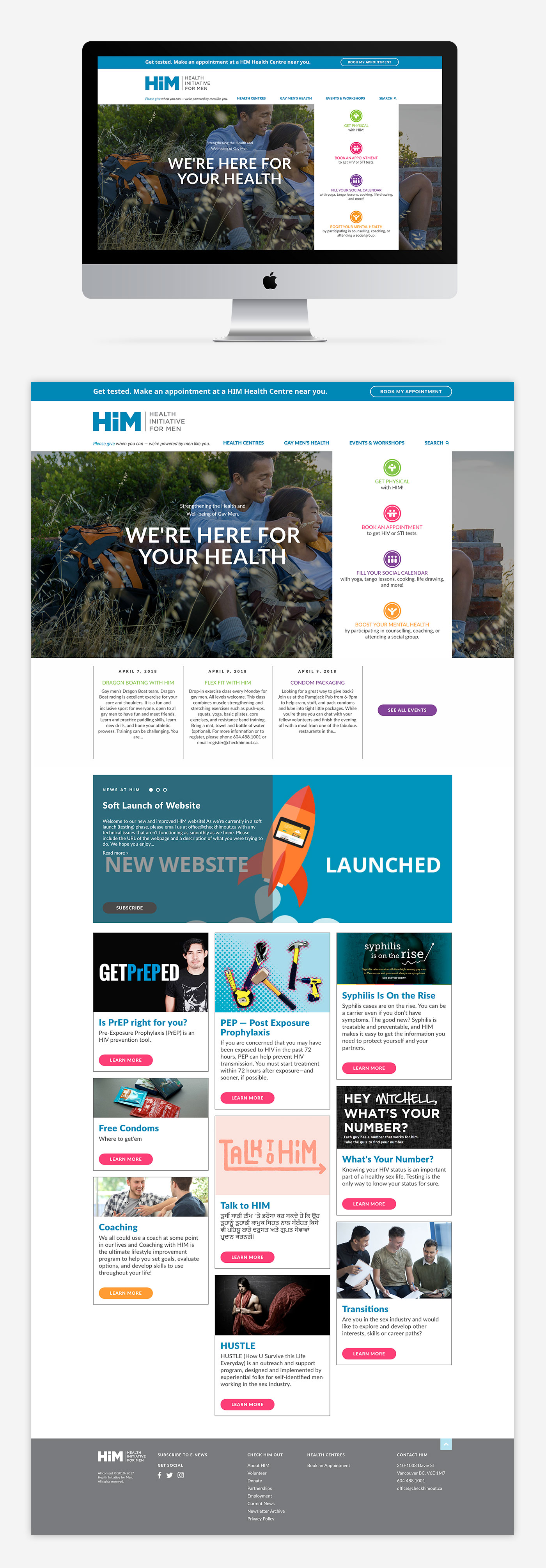 Web design for Health Initiative for Men, by Flipside Creative.