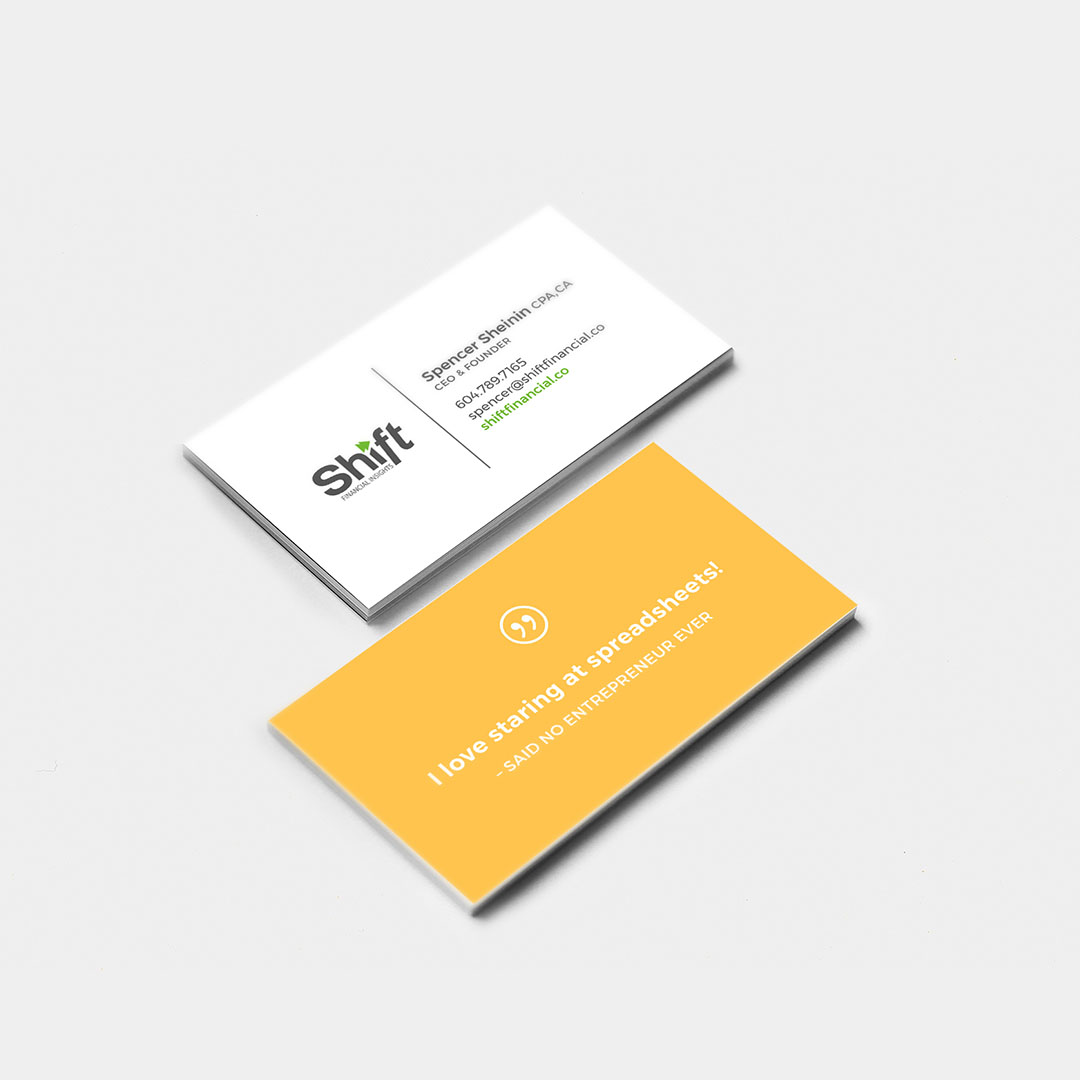 Business card design for Shift Financial in Vancouver, BC. By Flipside Creative.
