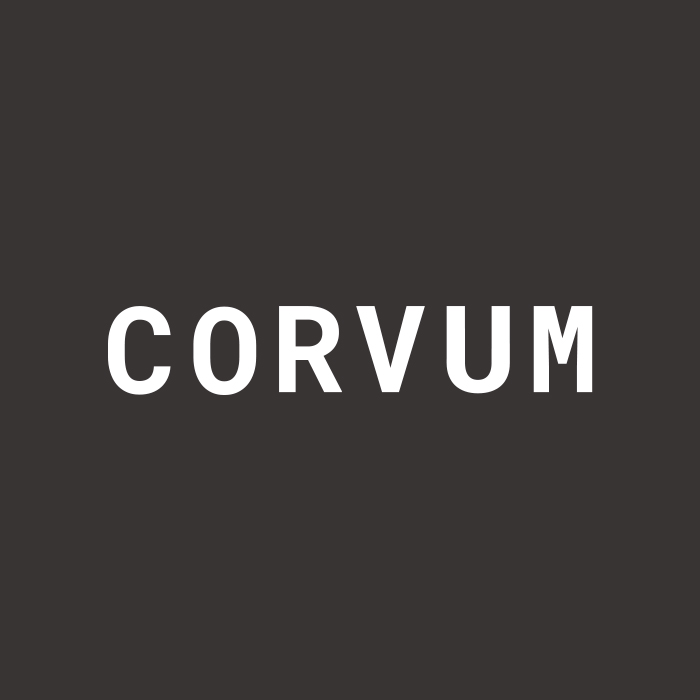 Logo design for CORVUM by Vancouver-based marketing collective Flipside Creative.