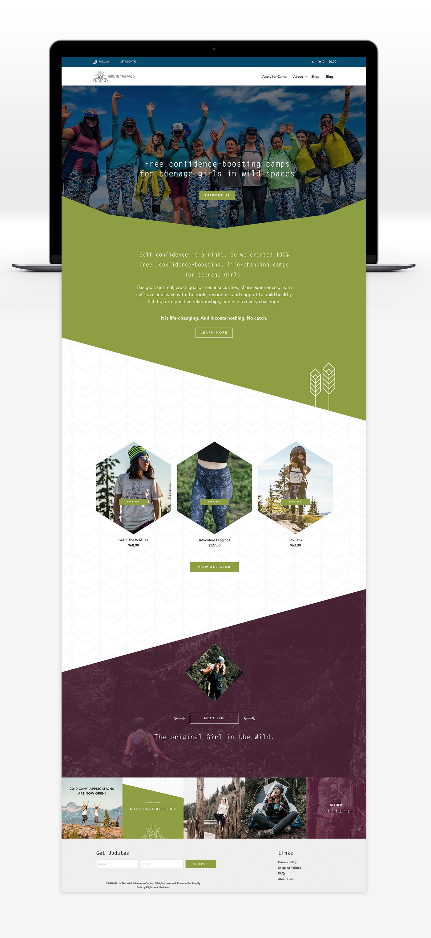 Girl In The Wild web design by Vancouver-based creative collective, Flipside Creative.