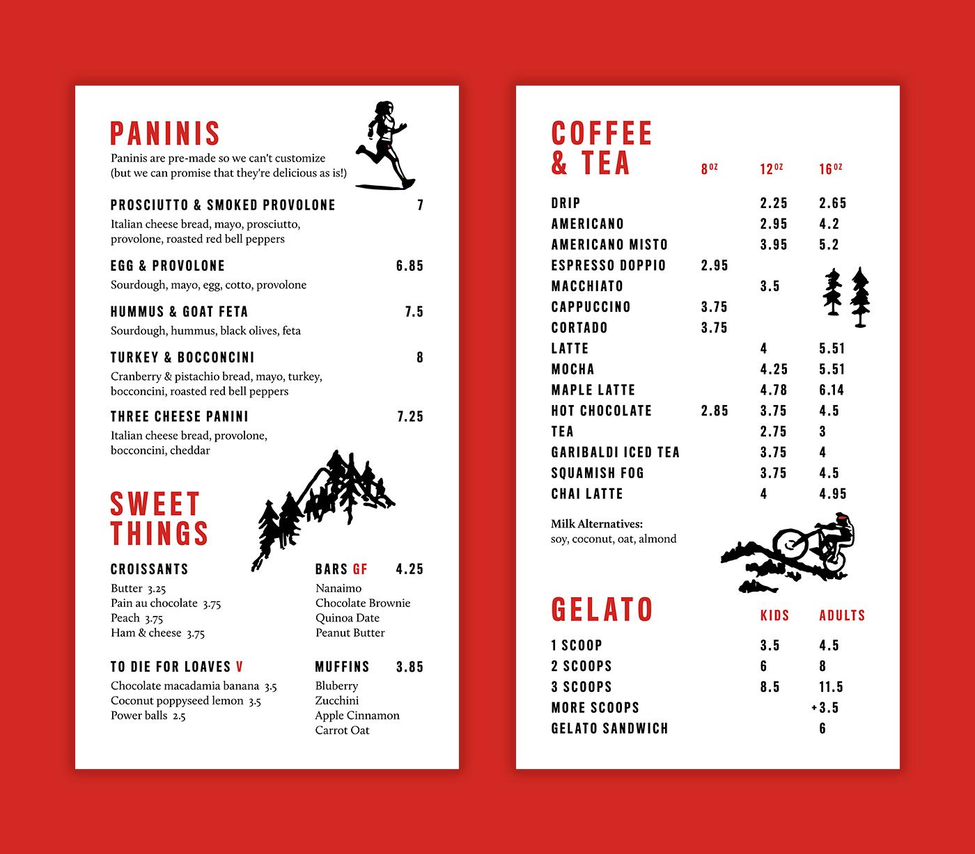 Caffe Garibaldi menu board design by Vancouver-based creative collective, Flipside Creative.
