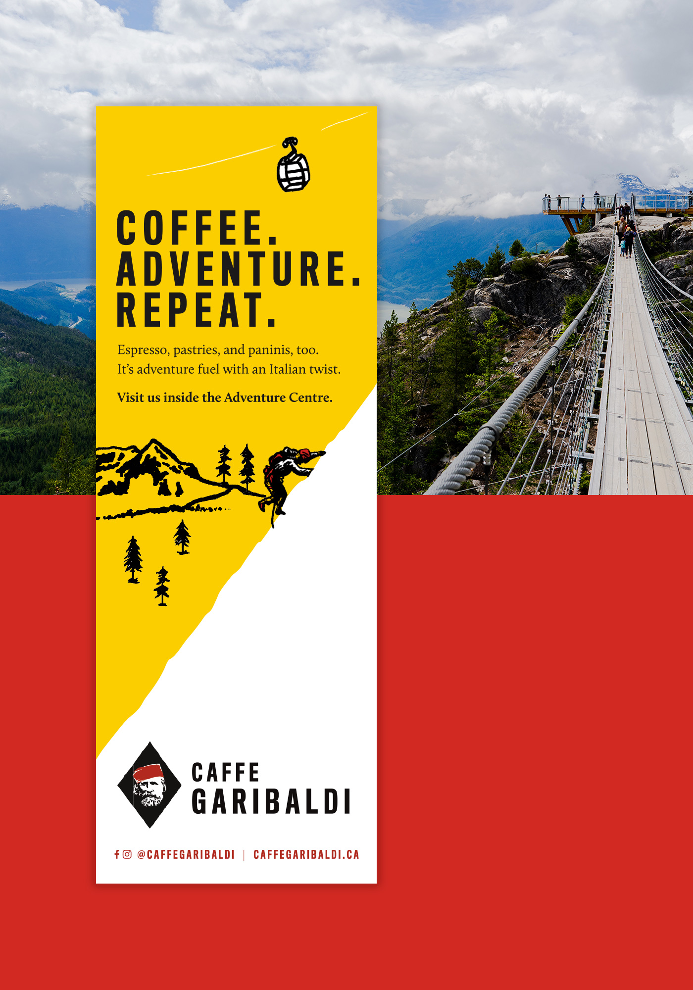 Caffe Garibaldi ad design by Vancouver-based creative collective, Flipside Creative.
