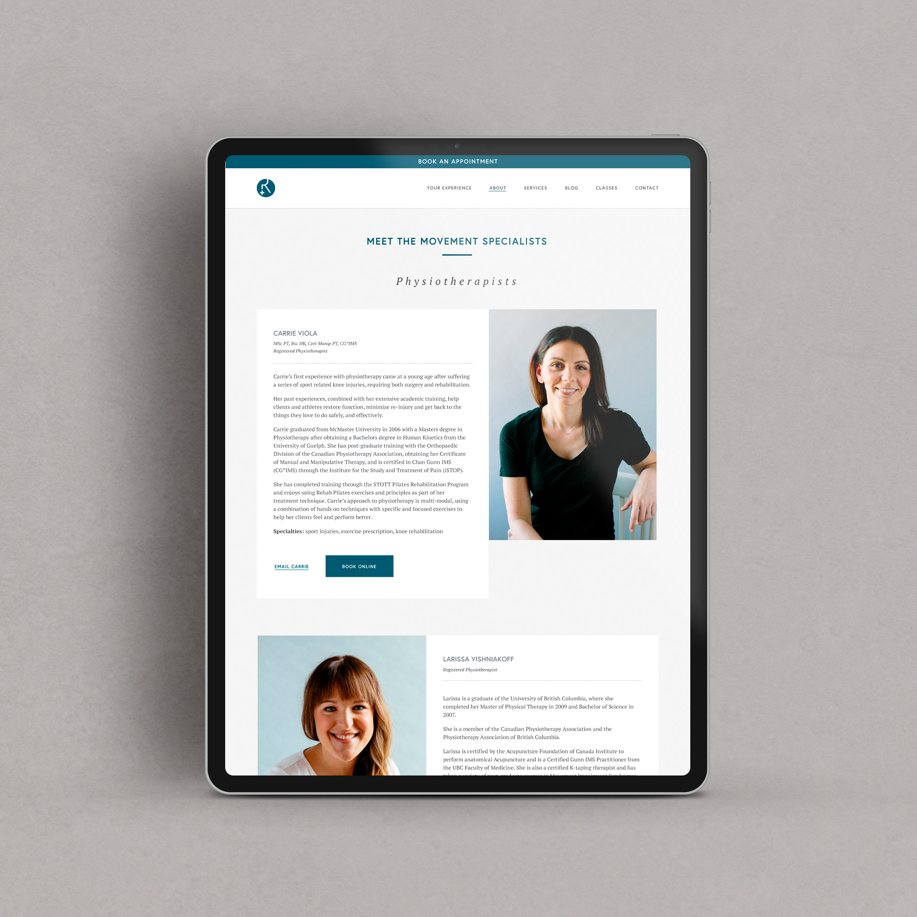 Reformotiv Physio + Pilates website design by Flipside Creative.