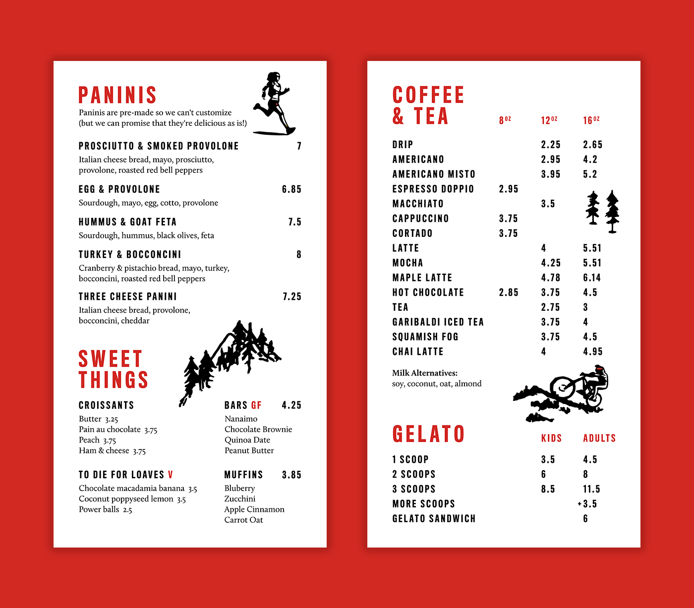 Brand and merchandise design by Flipside Creative for Squamish BC coffee shop, Caffe Garibaldi