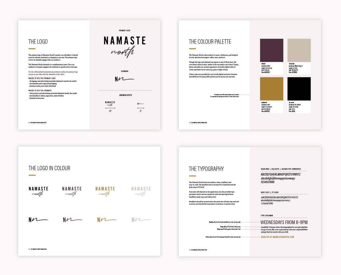 Brand design for Barrie-based yoga studio, Namaste North, by Flipside Creative.