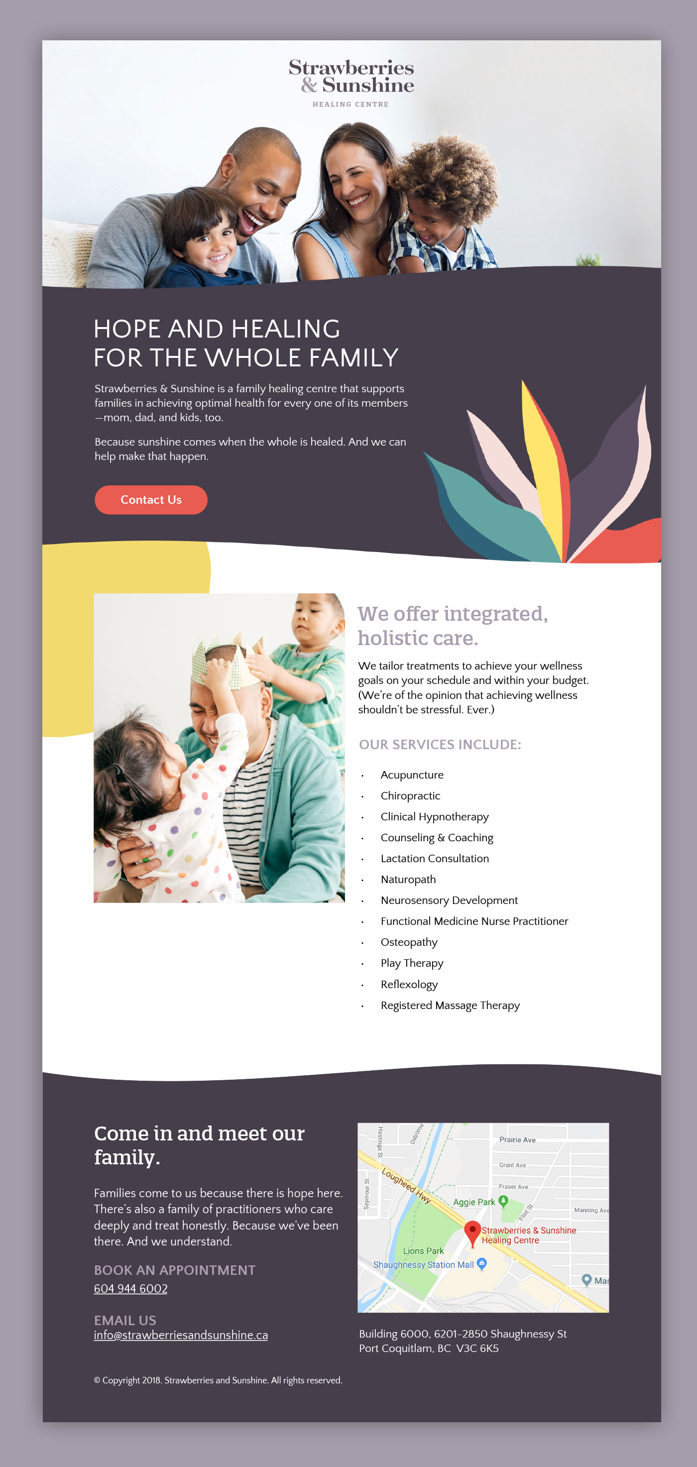 Brand strategy and design for Vancouver-based family clinic, Strawberries & Sunshine, by Flipside Creative.